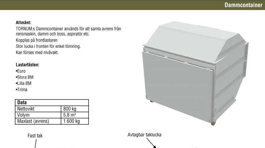 Produktblad för dammcontainer