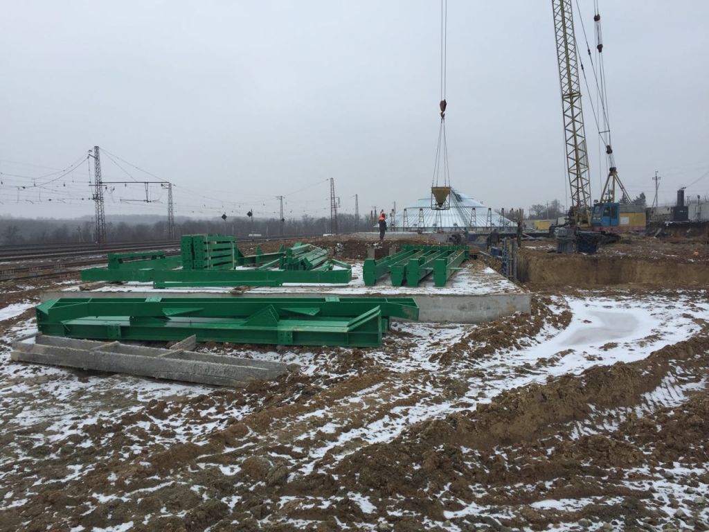 2018-02-15 Concrete base for the first grain dryer TK8-28-4 is ready for start installation equipment.